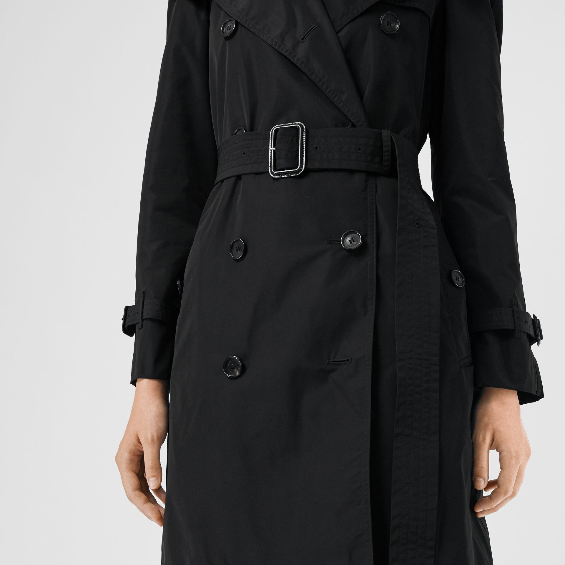 Detachable Hood Taffeta Trench Coat in Black - Women | Burberry - gallery image 6