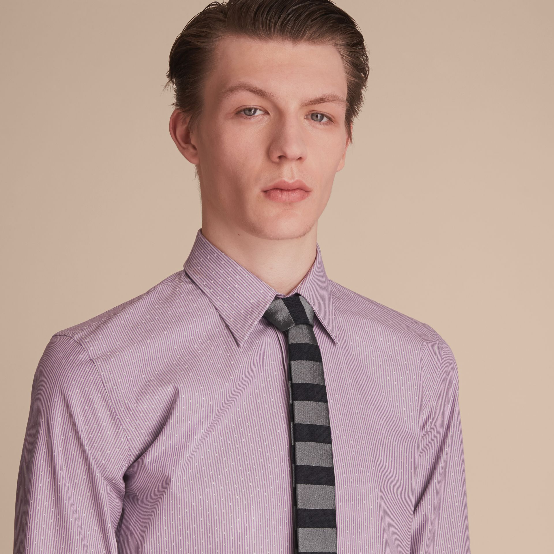 Slim Fit Striped Cross Dobby Cotton Shirt in Heather - Men | Burberry - gallery image 5
