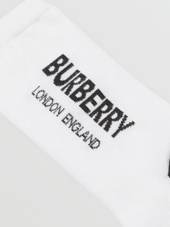 Logo Intarsia Cotton Blend Socks in White/black - Children | Burberry - cell image 1