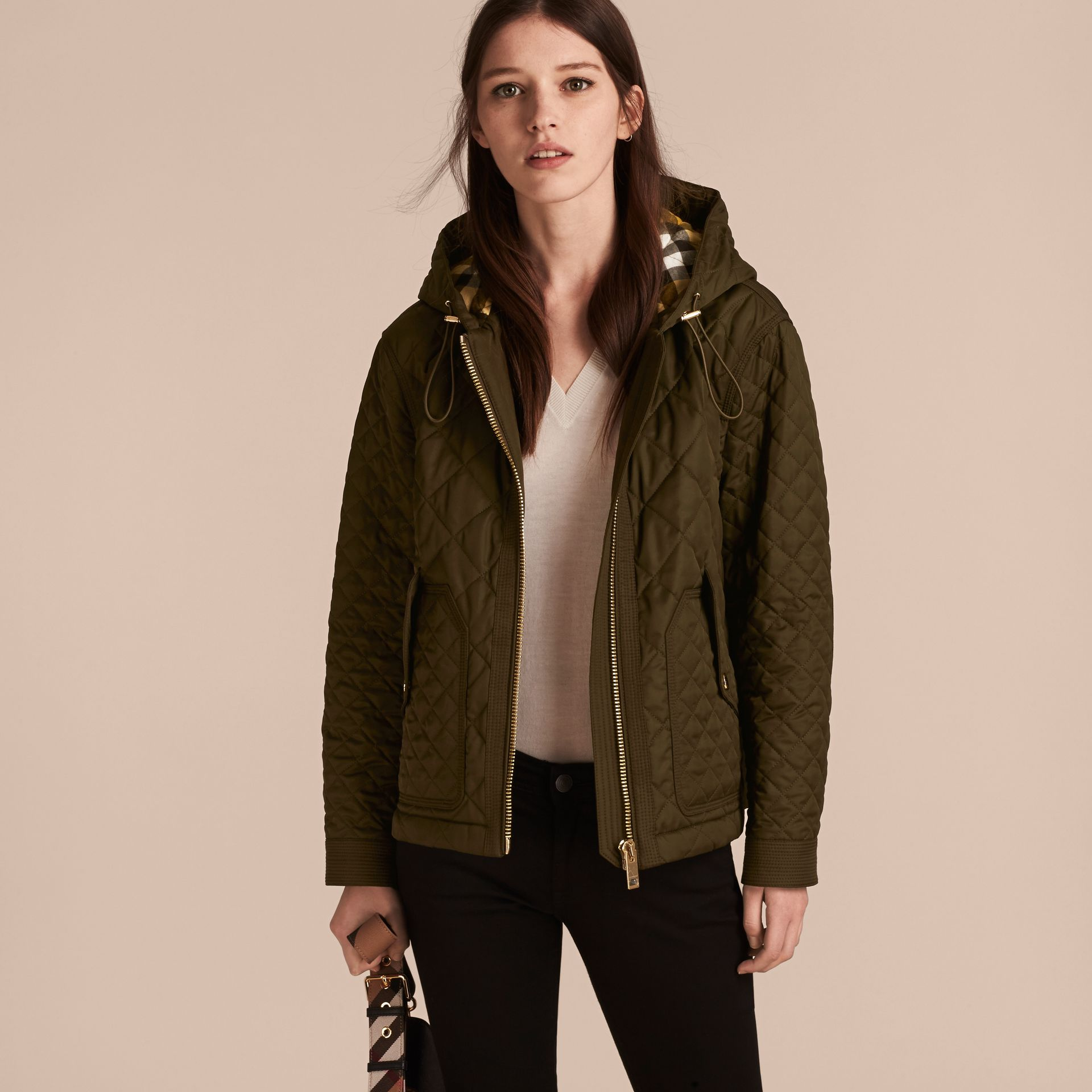 Diamond Quilted Hooded Jacket with Check Lining Dark Olive - gallery image 6