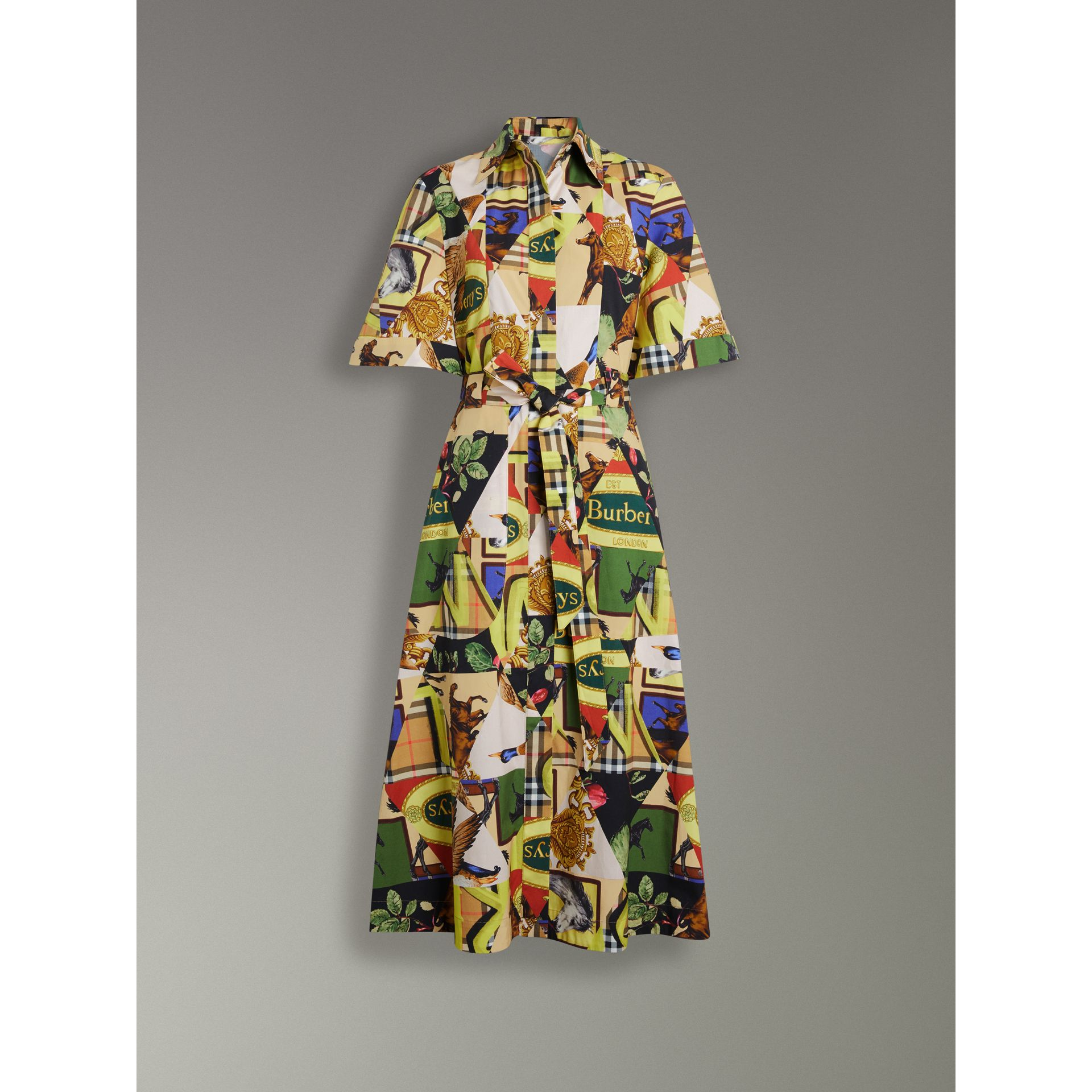 Graffitied Archive Scarf Print Shirt Dress in Bright Yellow - Women | Burberry United States - gallery image 3