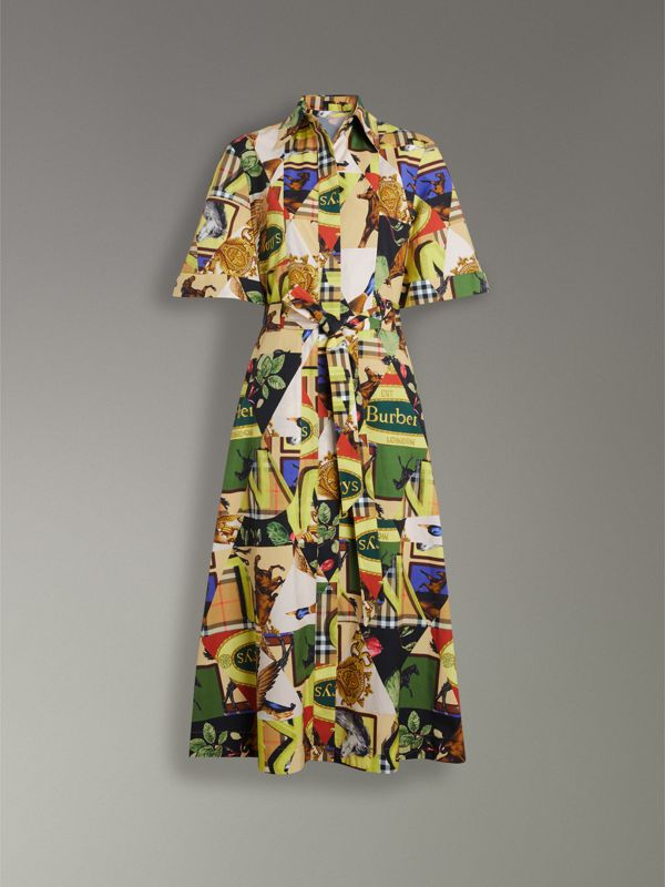 Graffitied Archive Scarf Print Shirt Dress in Bright Yellow - Women | Burberry - cell image 3