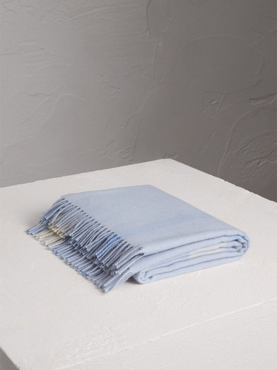 Check Cashmere Baby Blanket in Ice Blue