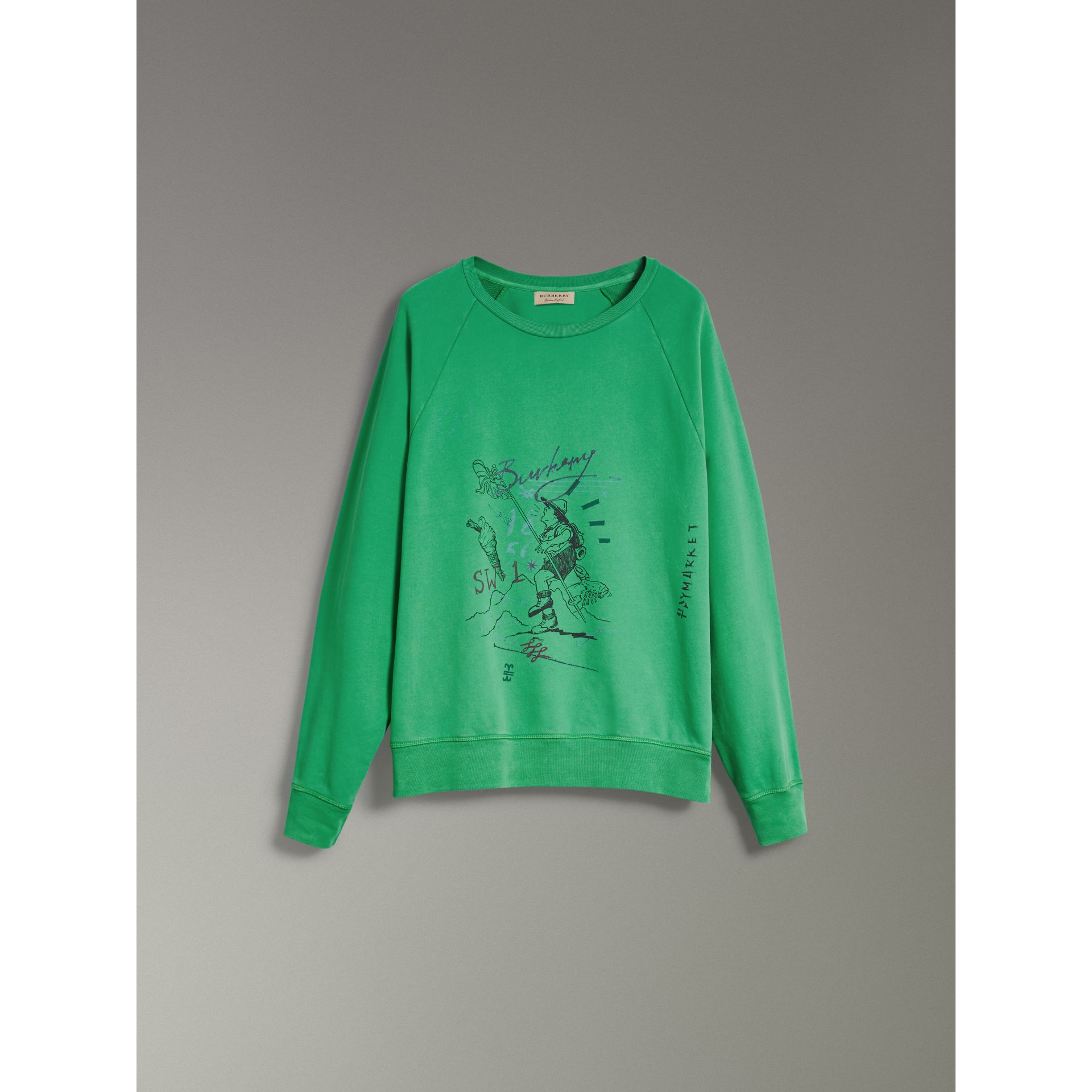 Adventure Print Cotton Sweatshirt in Bright Green - Men | Burberry - gallery image 3
