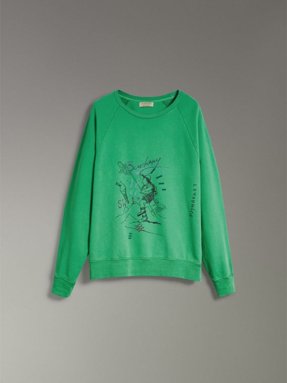 Adventure Print Cotton Sweatshirt in Bright Green - Men | Burberry - cell image 3