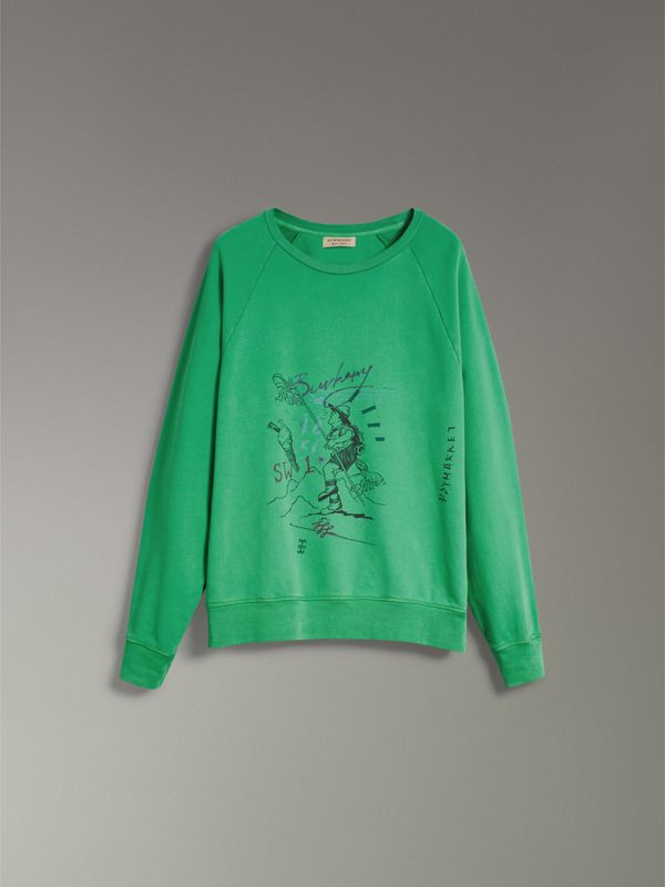 Adventure Print Cotton Sweatshirt in Bright Green - Men | Burberry Hong Kong - cell image 3