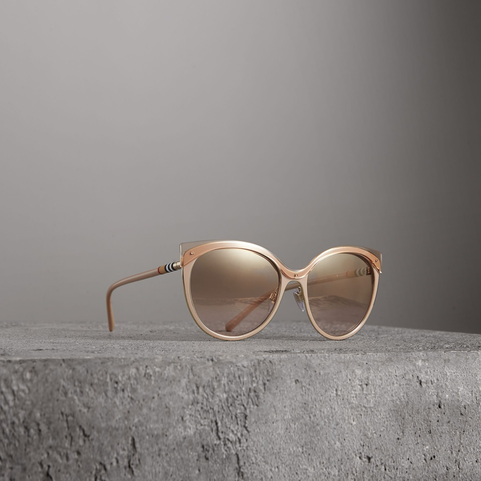 Two-tone Cat-eye Frame Sunglasses in Light Brown - Women | Burberry - gallery image 0
