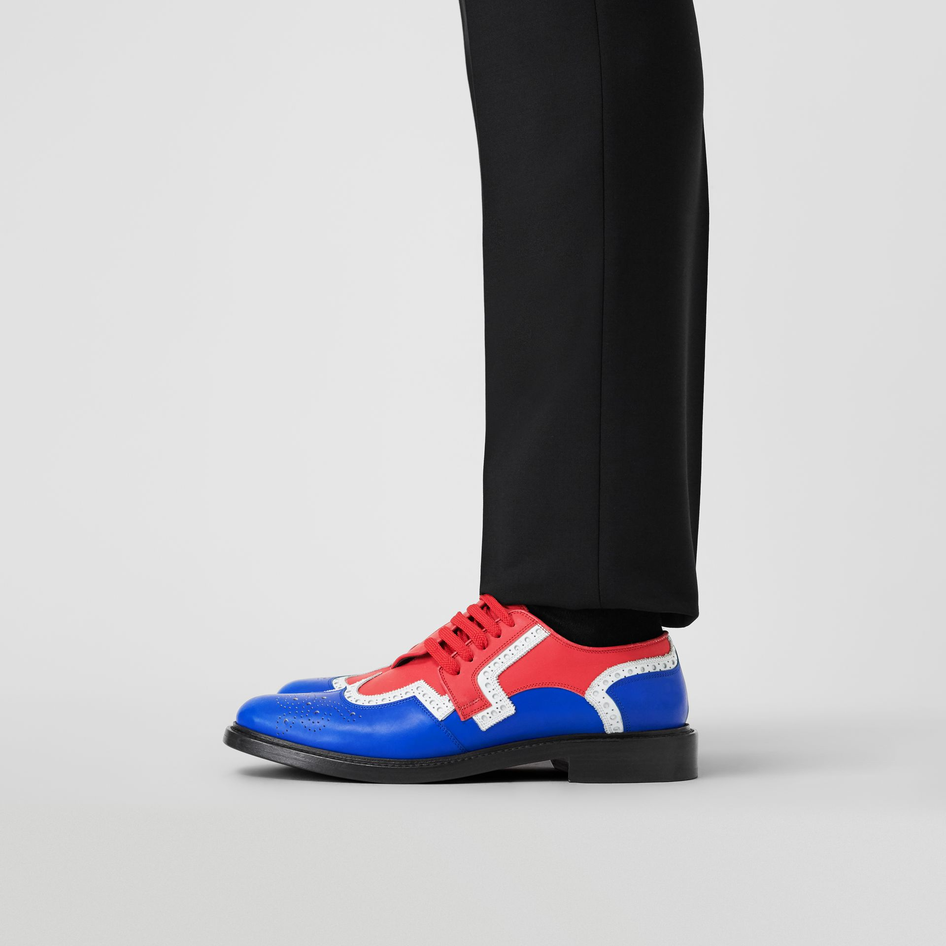 Asymmetric Closure Tri-tone Leather Brogues in Blue/red - Men | Burberry United Kingdom - gallery image 2