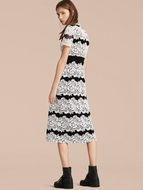 Black/white Mesh and Macramé Lace Shift Dress - cell image 2