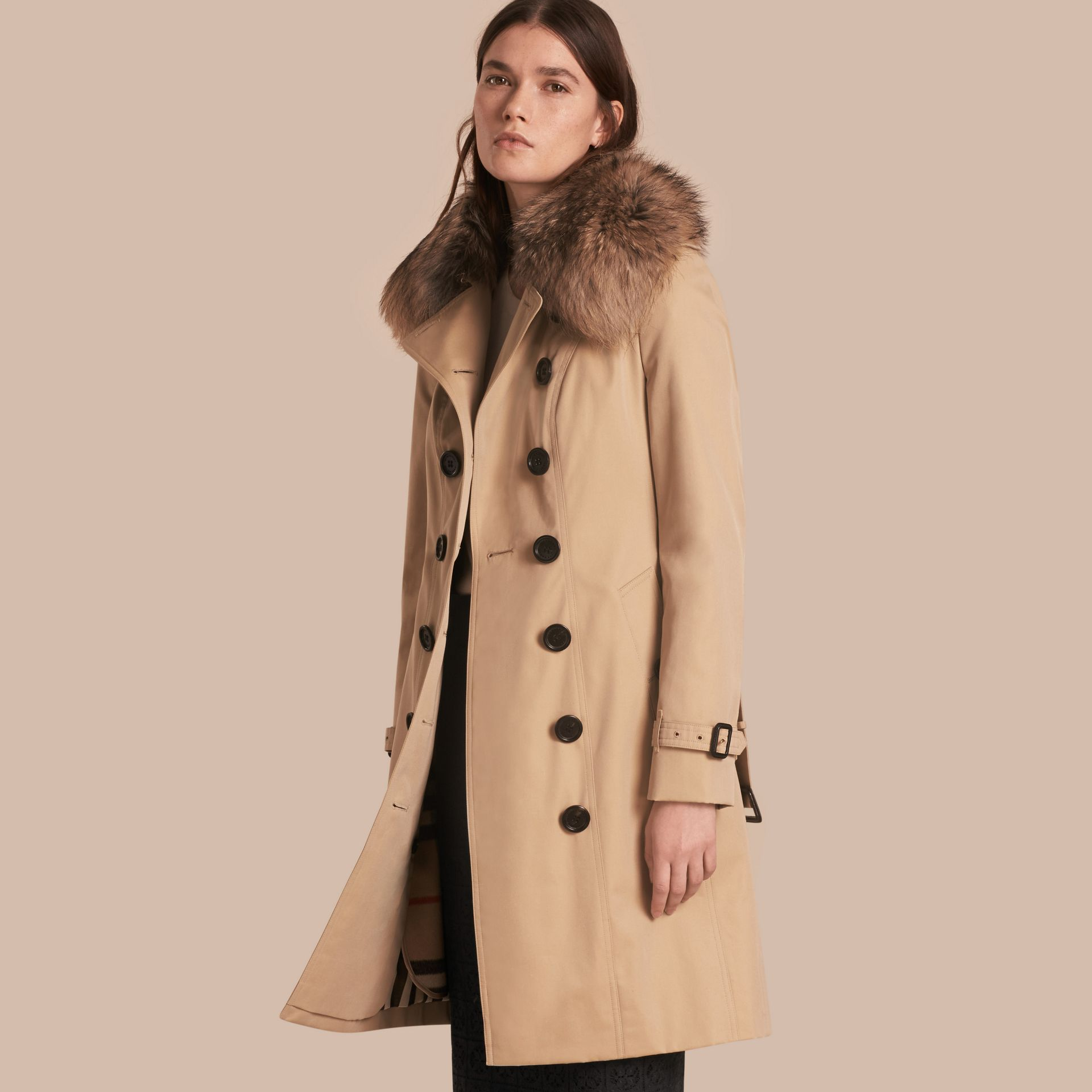 Honey Cotton Gabardine Trench Coat with Detachable Fur Trim Honey - gallery image 1