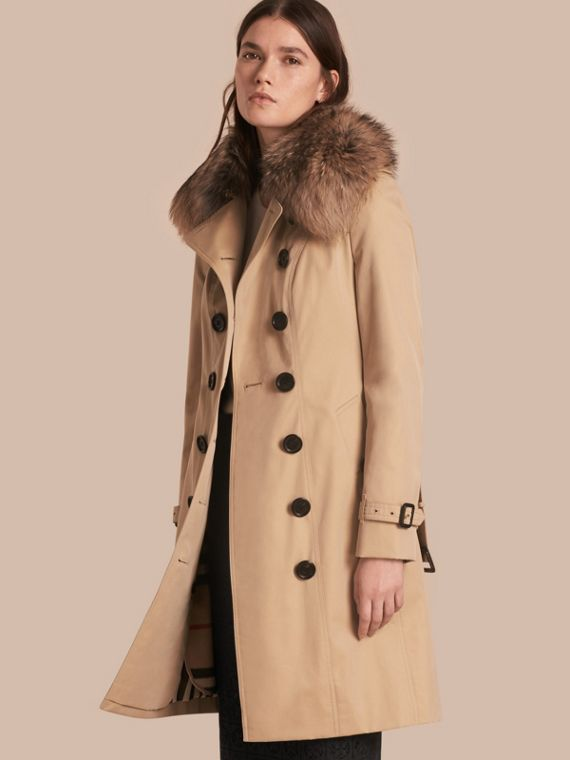 Cotton Gabardine Trench Coat with Detachable Fur Collar and Warmer Honey