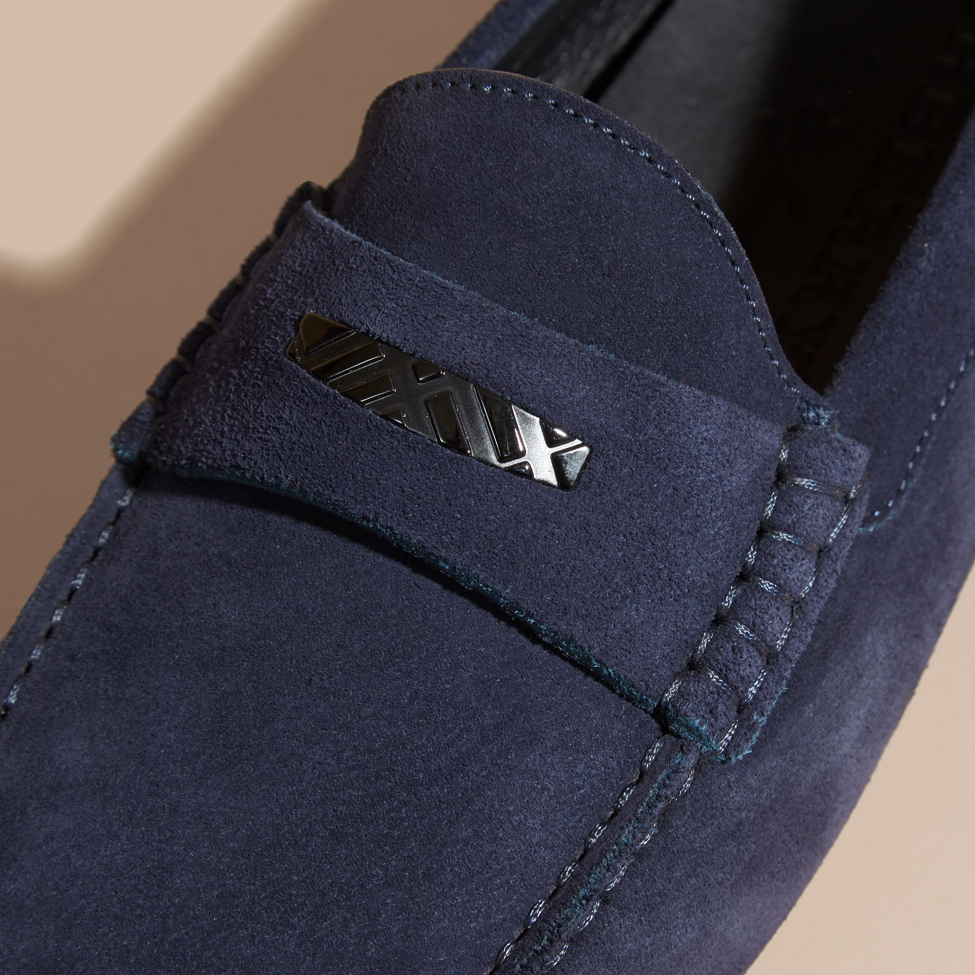 Dark navy Suede Loafers with Engraved Check Detail - gallery image 2