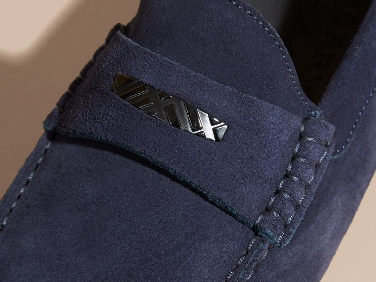 Dark navy Suede Loafers with Engraved Check Detail - cell image 1