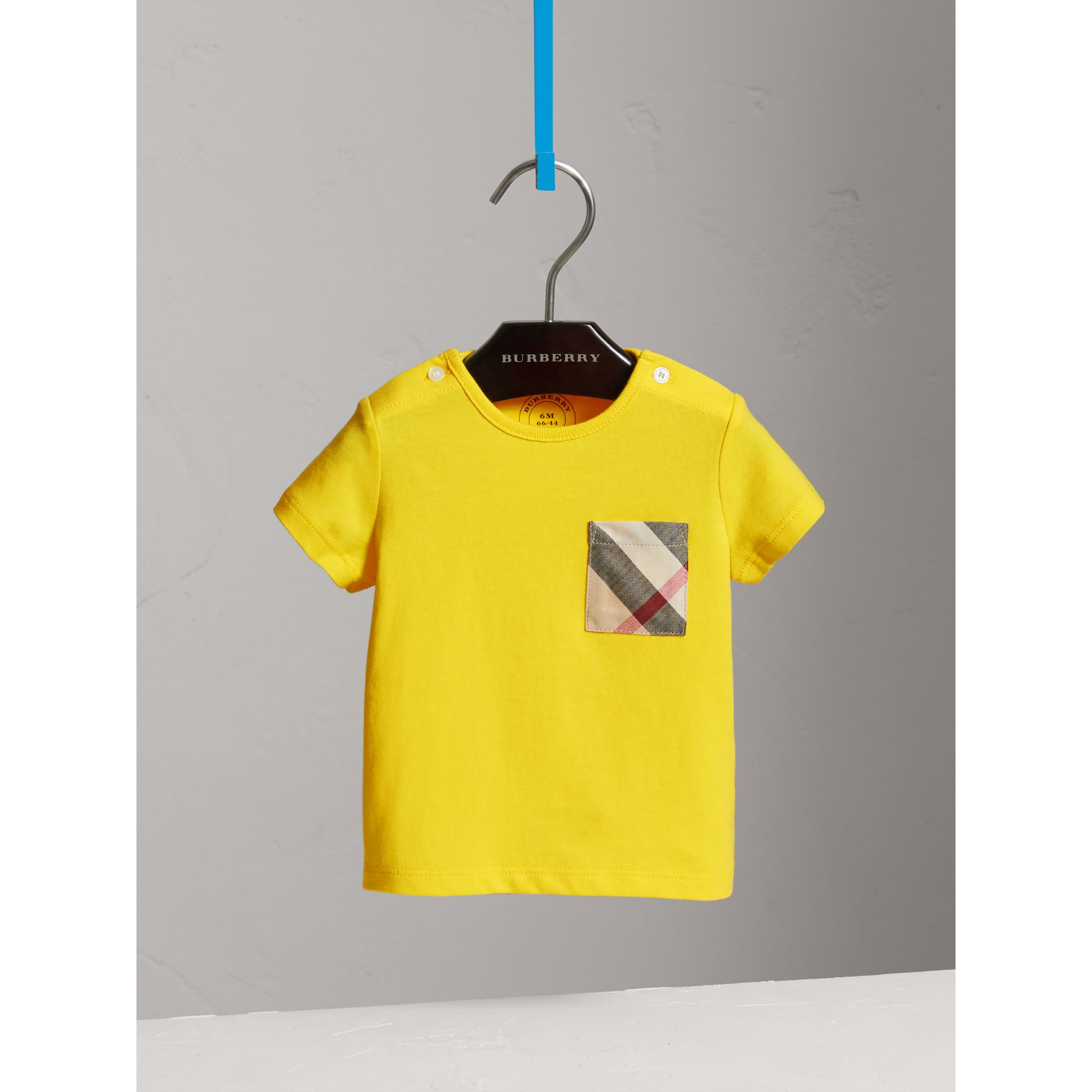 Check Pocket Cotton T-shirt in Bright Citrus Yellow | Burberry - gallery image 2