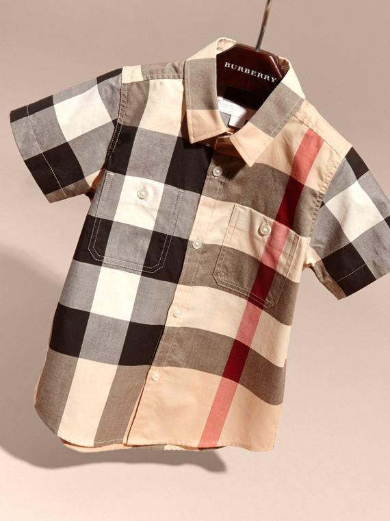 Short-sleeve Check Cotton Shirt in New Classic - Boy | Burberry - cell image 2