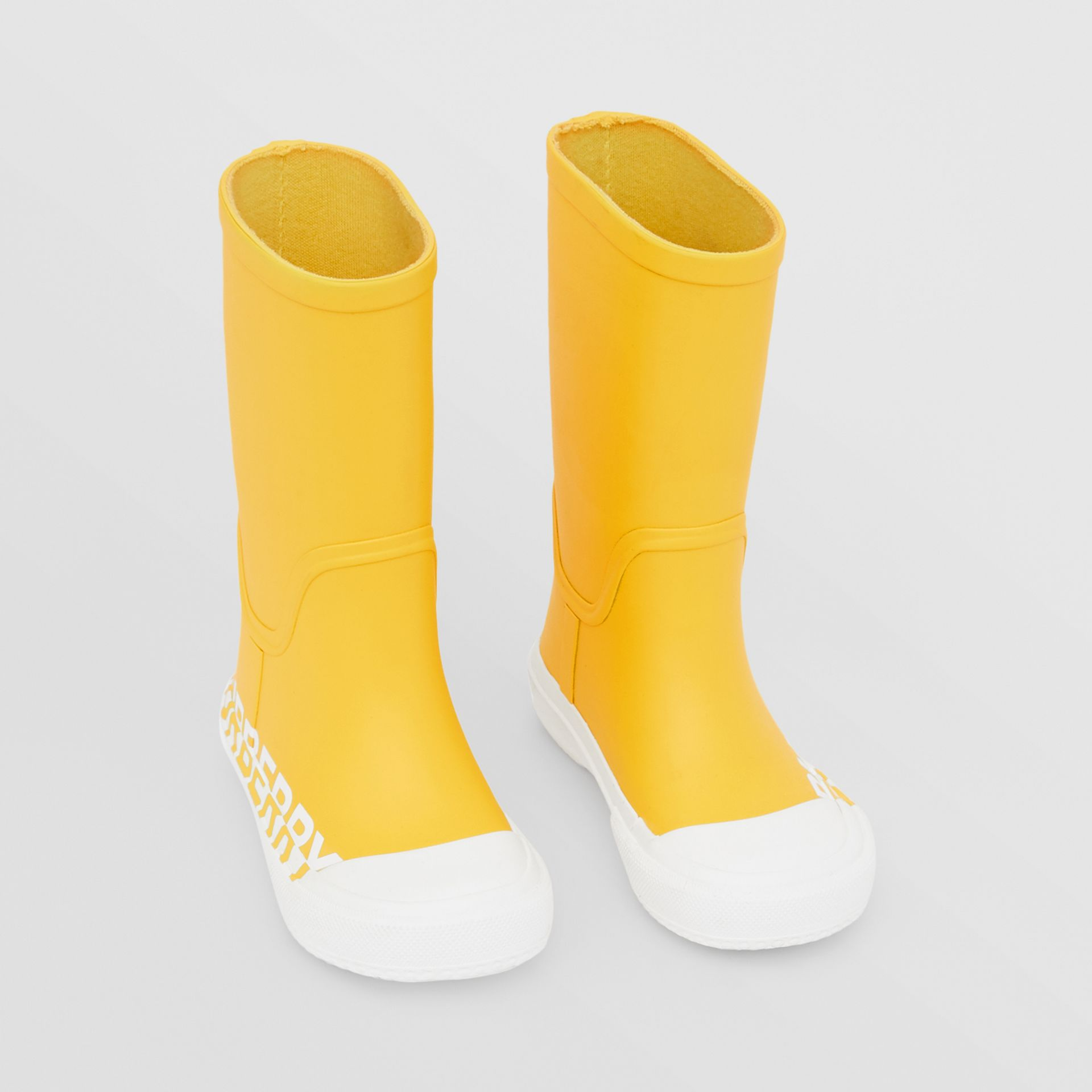 Logo Print Two-tone Rubber Rain Boots in Canary Yellow - Children | Burberry - gallery image 0