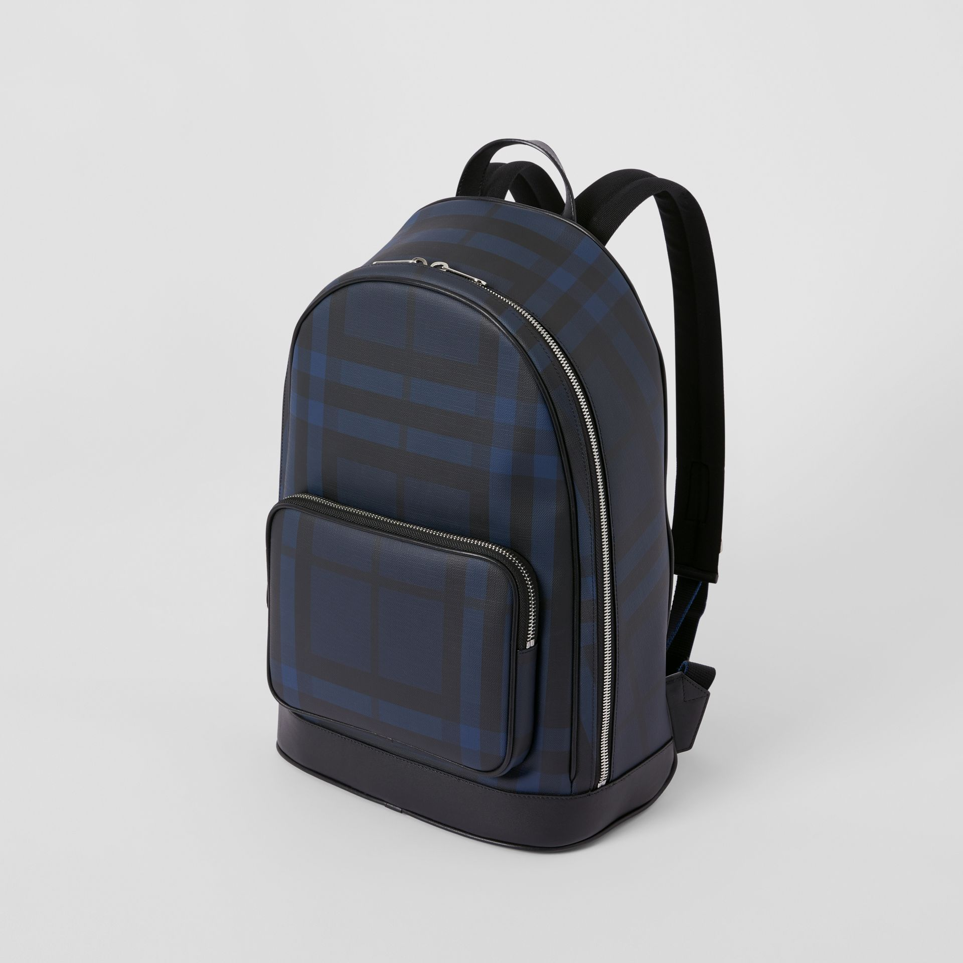 London Check and Leather Backpack in Navy | Burberry United Kingdom - gallery image 4