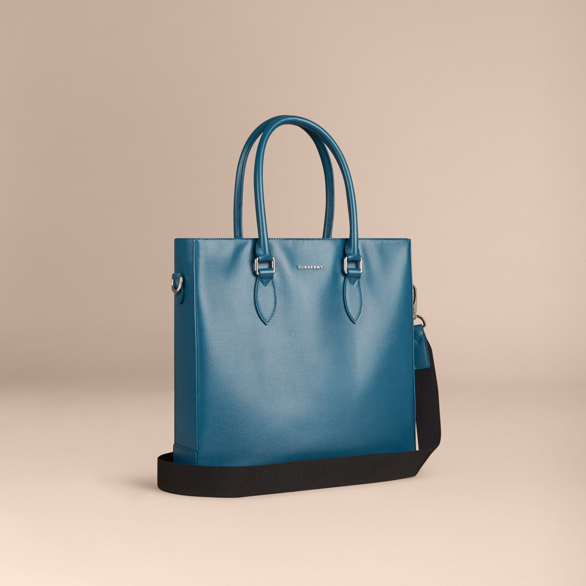 Mineral blue London Leather Tote Bag Mineral Blue - gallery image 1