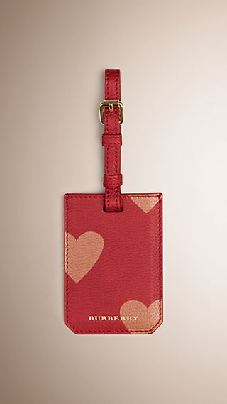 Heart Print Grainy Leather Luggage Tag