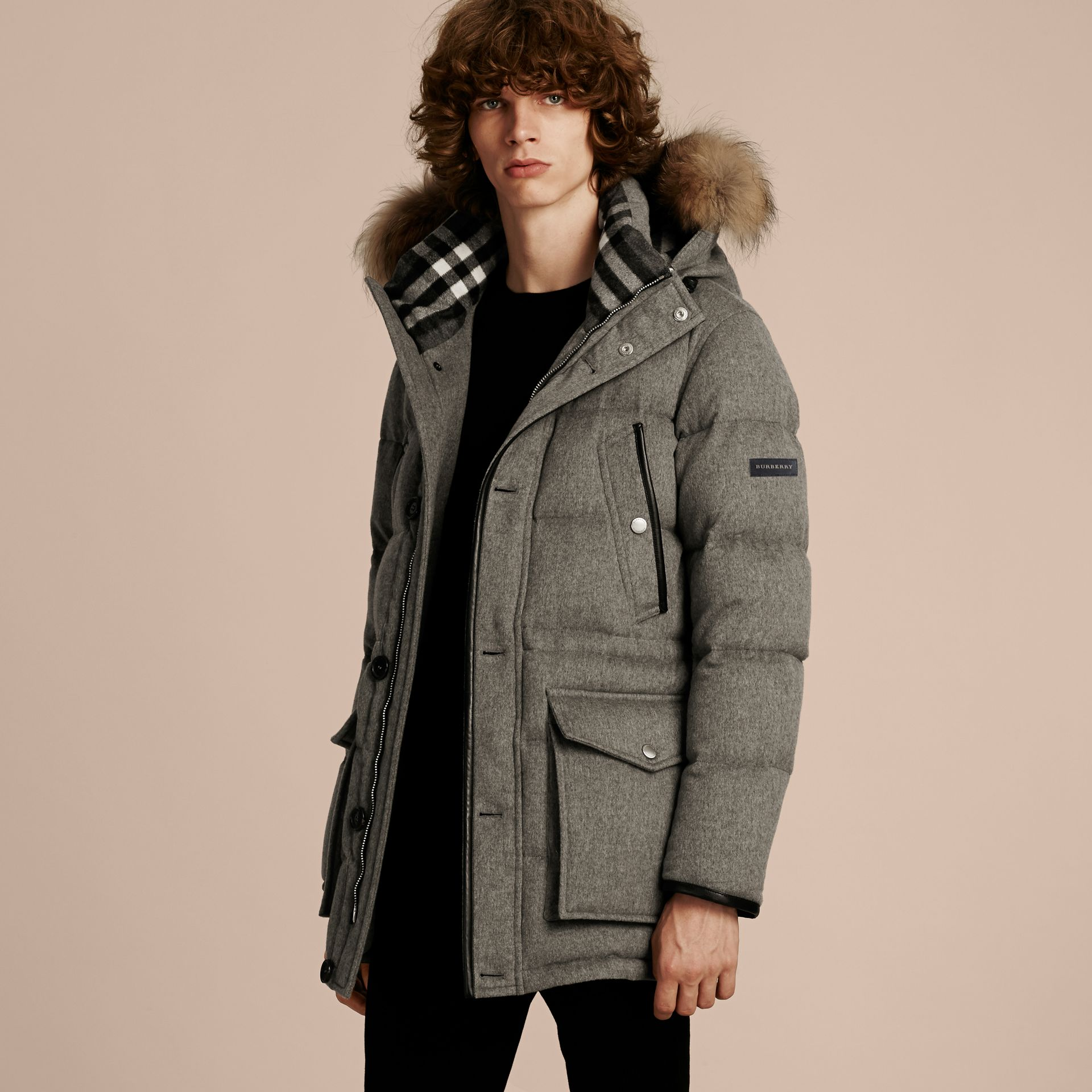 Mid grey melange Down-filled Cashmere Parka with Detachable Fur Trim Mid Grey Melange - gallery image 7