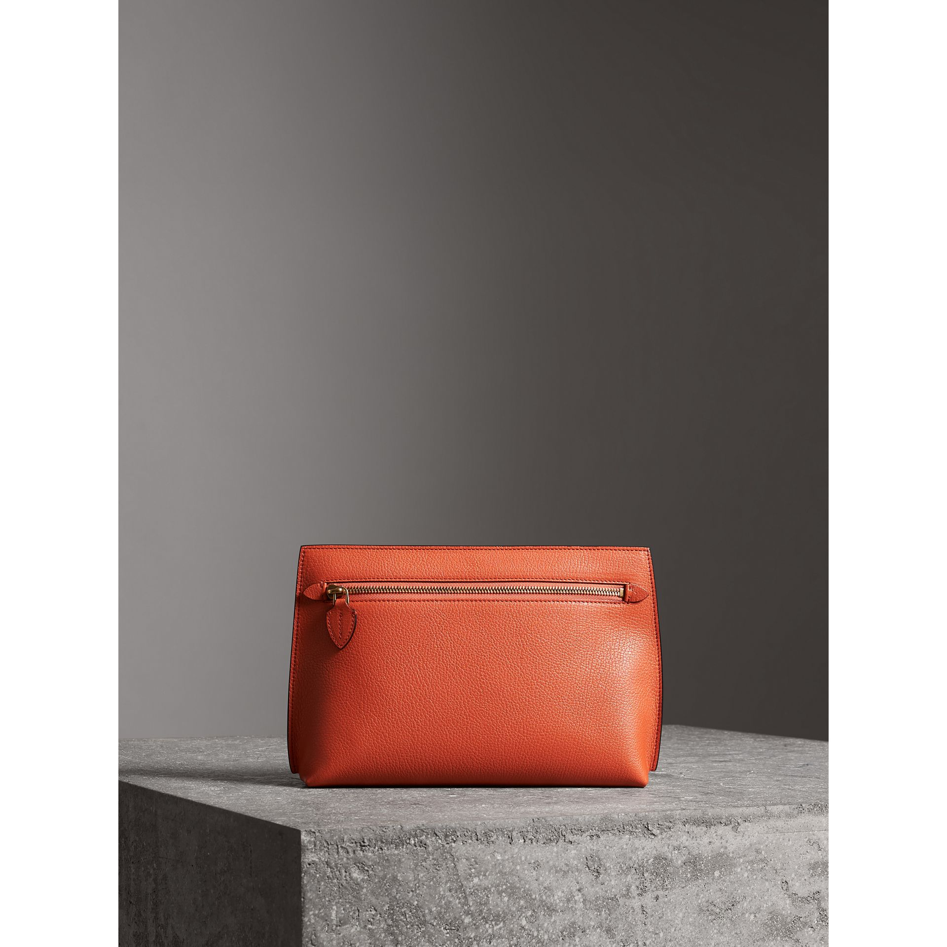 Grainy Leather Wristlet Clutch in Clementine - Women | Burberry Australia - gallery image 5