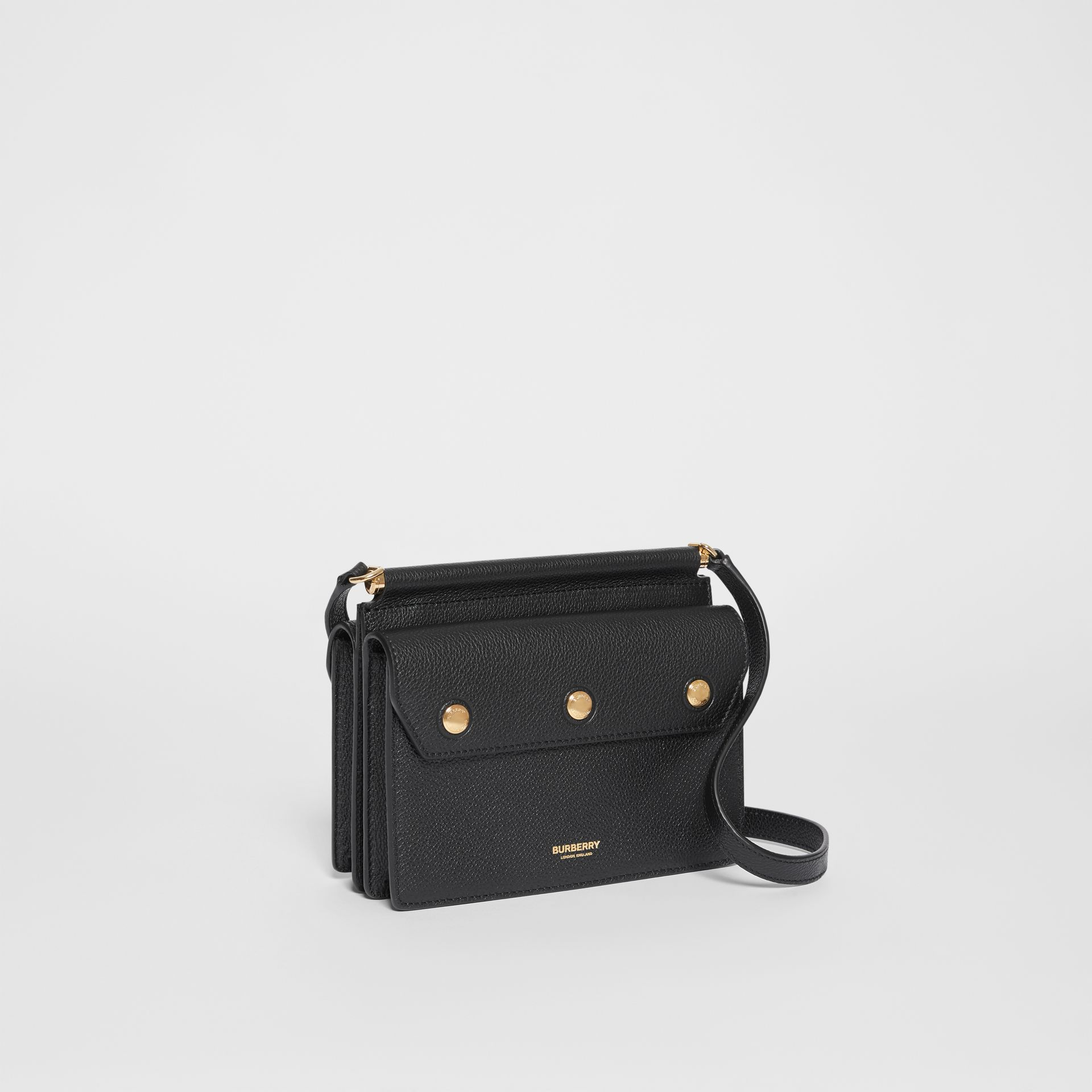 Mini Leather Title Bag with Pocket Detail in Black - Women | Burberry - gallery image 6