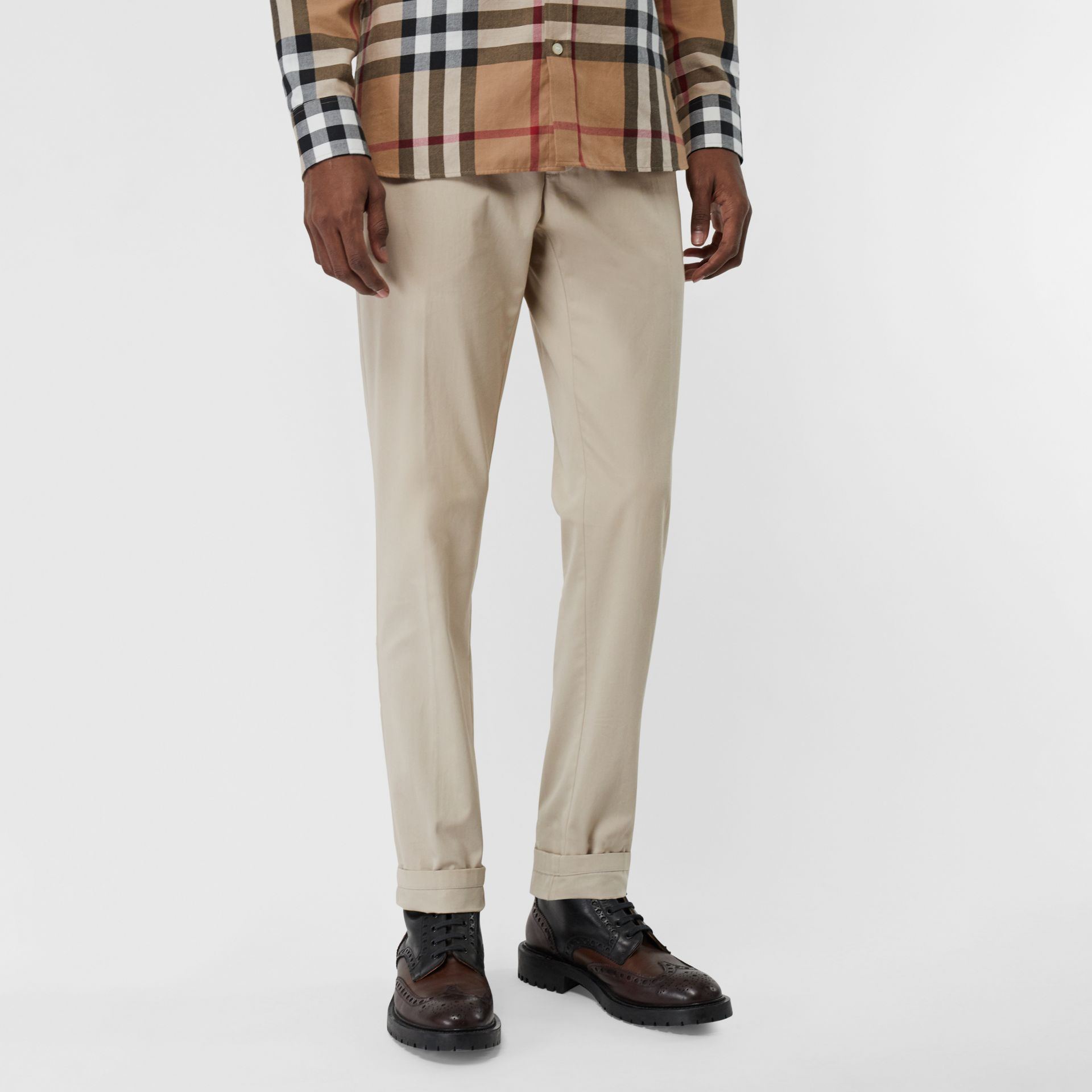 Slim Fit Cotton Blend Twill Chinos in Stone - Men | Burberry - gallery image 4