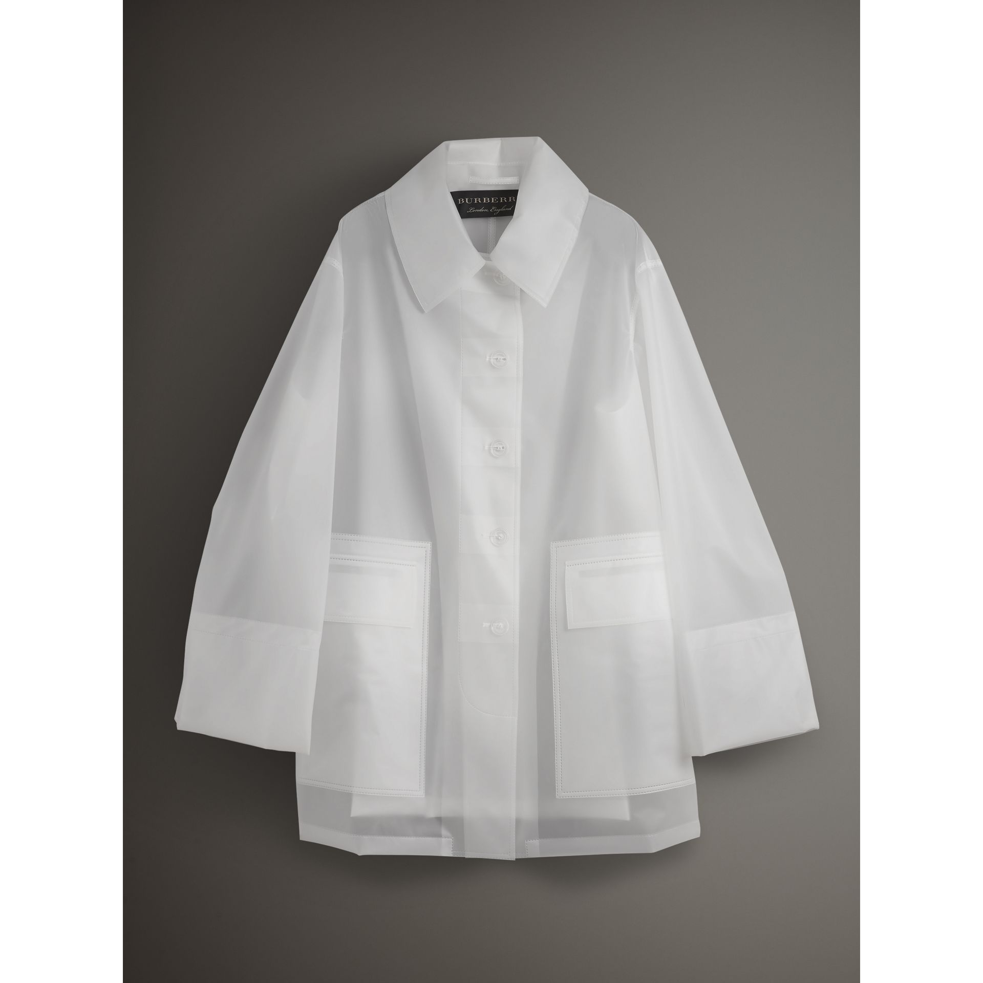 Soft-touch Plastic Oversized Car Coat in White - Women | Burberry - gallery image 4