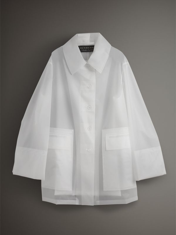Soft-touch Plastic Oversized Car Coat in White - Women | Burberry - cell image 3