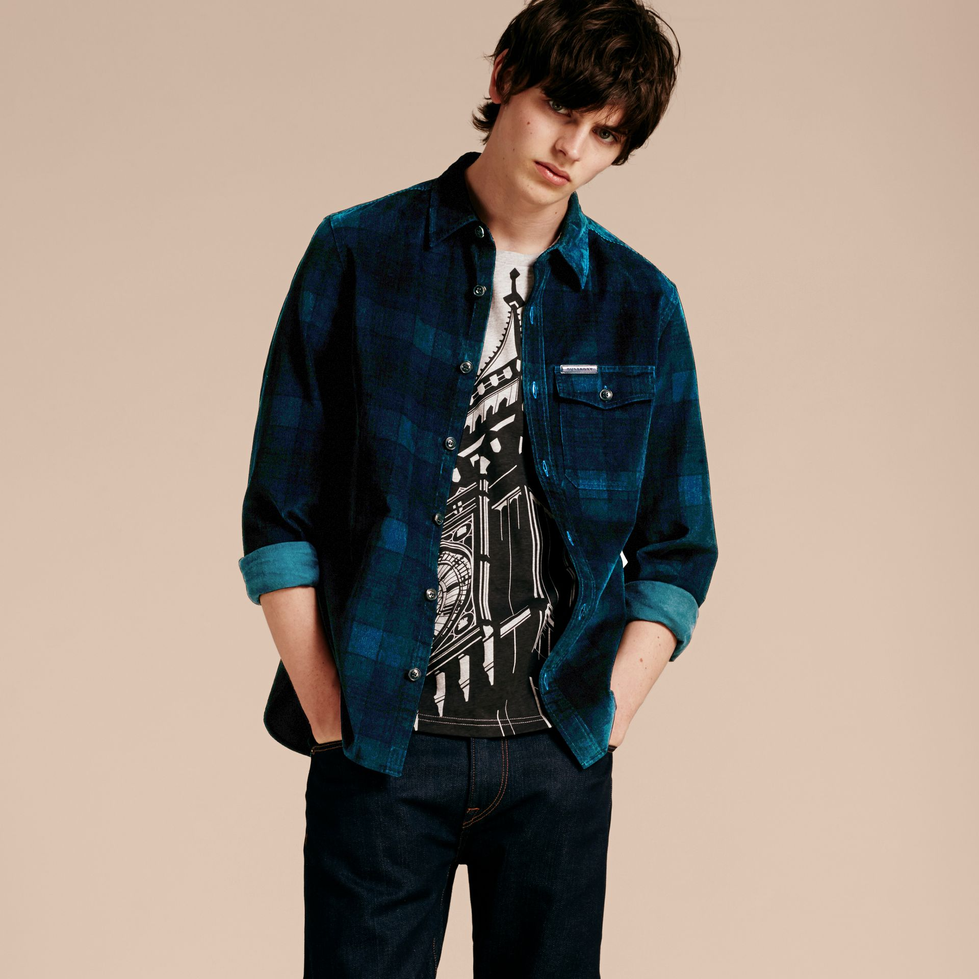 Navy black Check Corduroy Shirt - gallery image 6