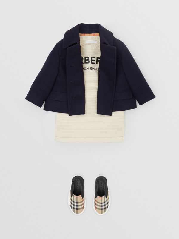Melton Wool Tailored Pea Coat in Navy - Children | Burberry - cell image 2