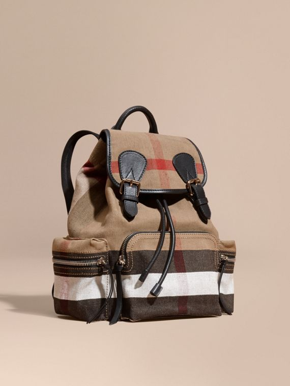 The Medium Rucksack in Canvas Check and Leather