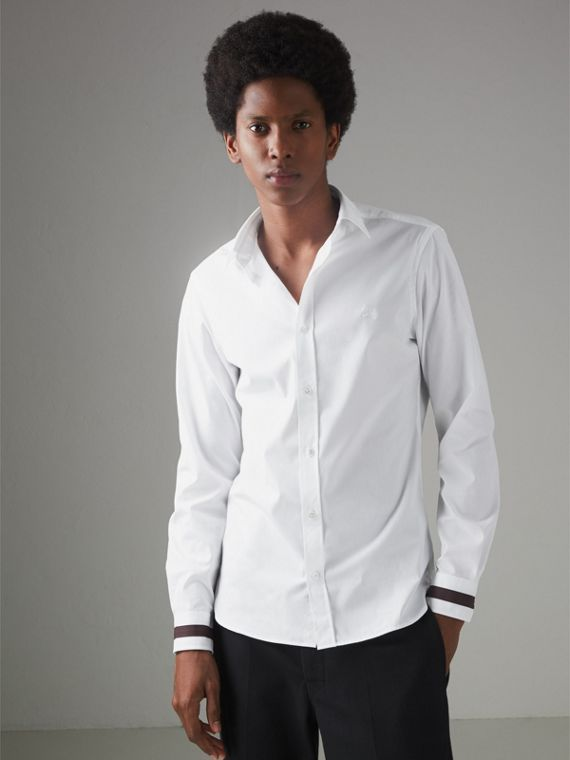 Stripe Detail Stretch Cotton Shirt in White