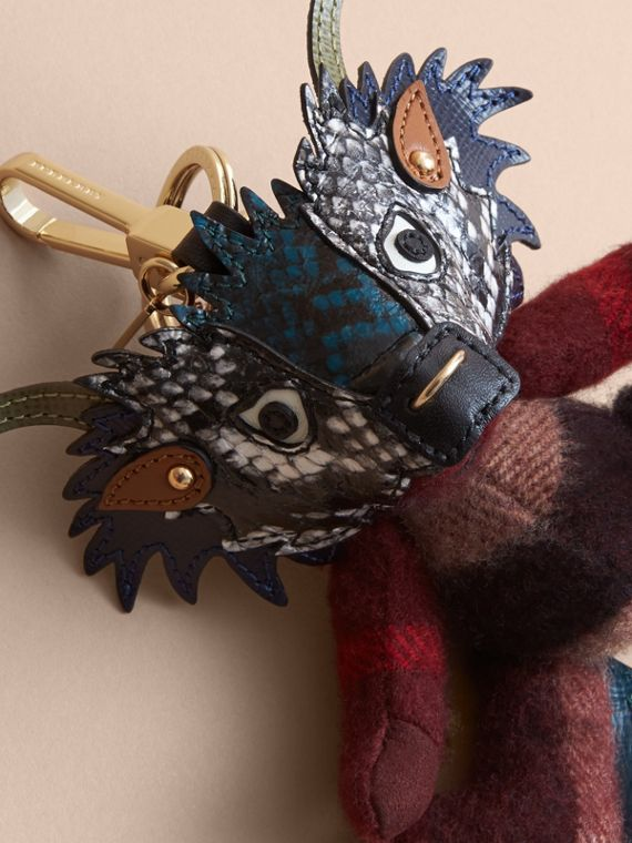 Thomas Bear Charm in Check Cashmere with Beasts Detail in Claret - Men | Burberry - cell image 3