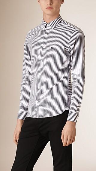 Camisa en algodón de rayas Oxford