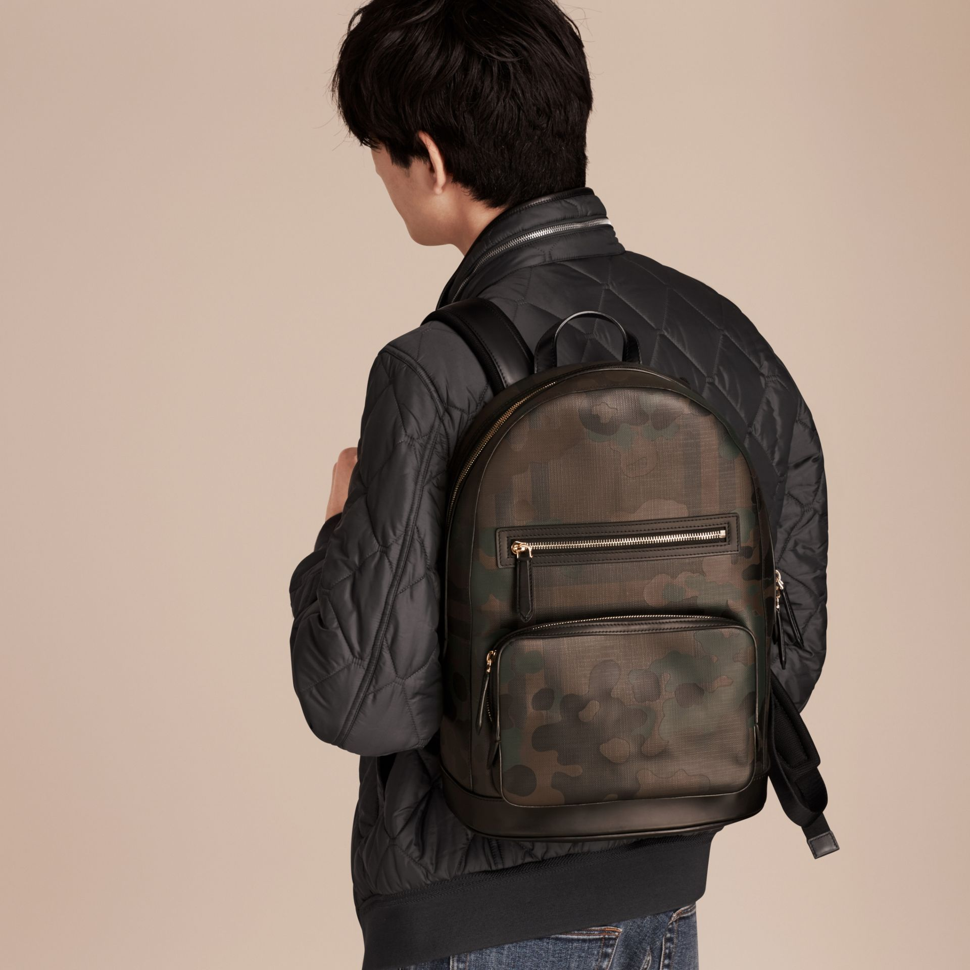 Chocolate Camouflage Print London Check Backpack - gallery image 3