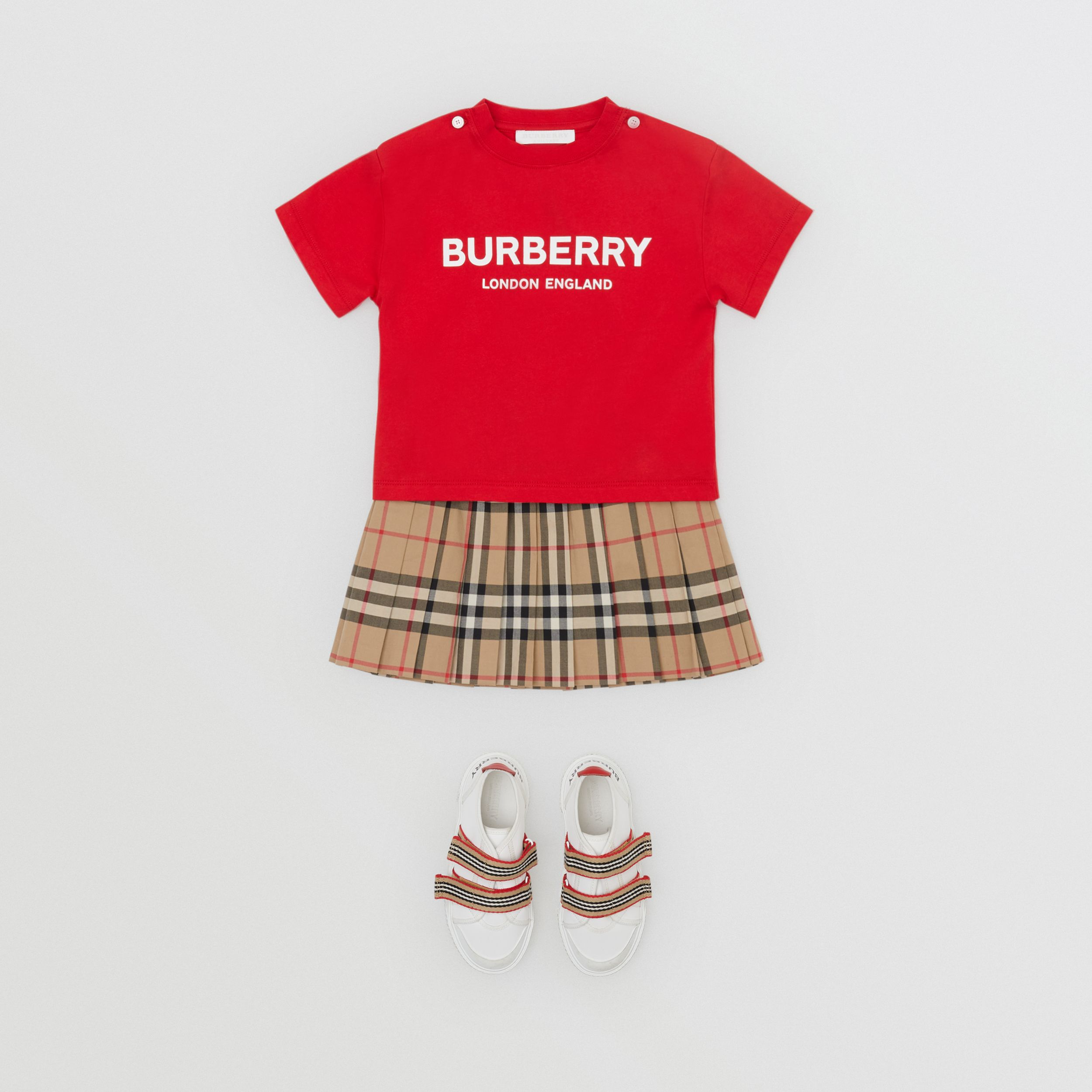 Logo Print Cotton T-shirt in Bright Red - Children | Burberry - 3