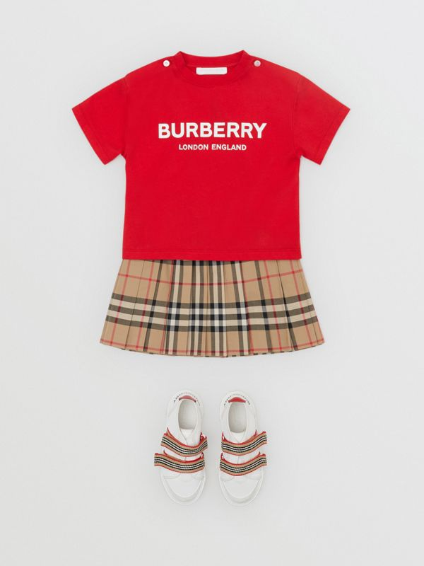 Logo Print Cotton T-shirt in Bright Red - Children | Burberry United Kingdom - cell image 2