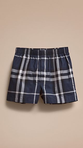 Check Twill Cotton Boxer Shorts