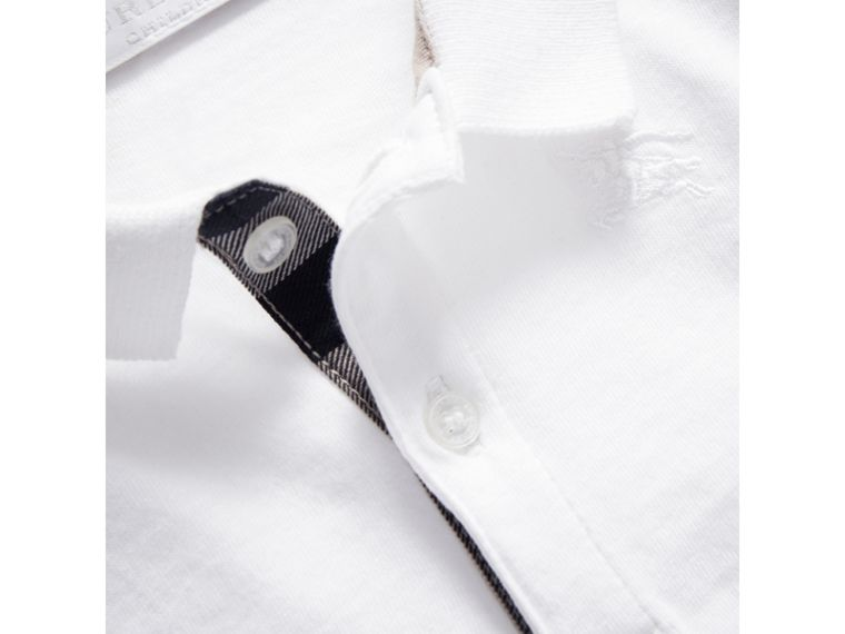 Check Trim Long-sleeved Cotton Polo Shirt in White | Burberry - cell image 1
