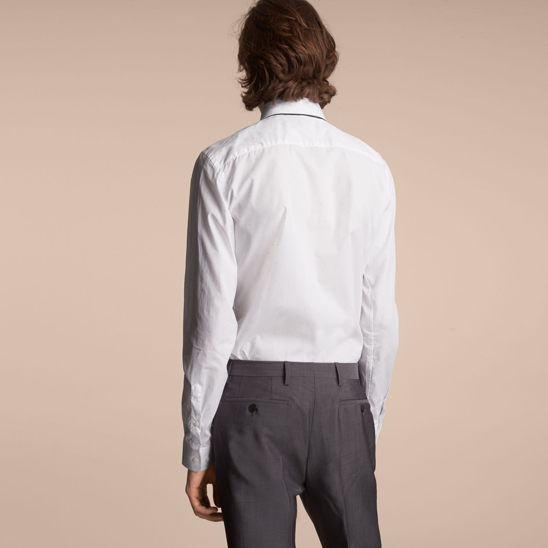 Slim Fit Dot Fil Coupé Cotton Poplin Shirt in White - Men | Burberry - gallery image 3