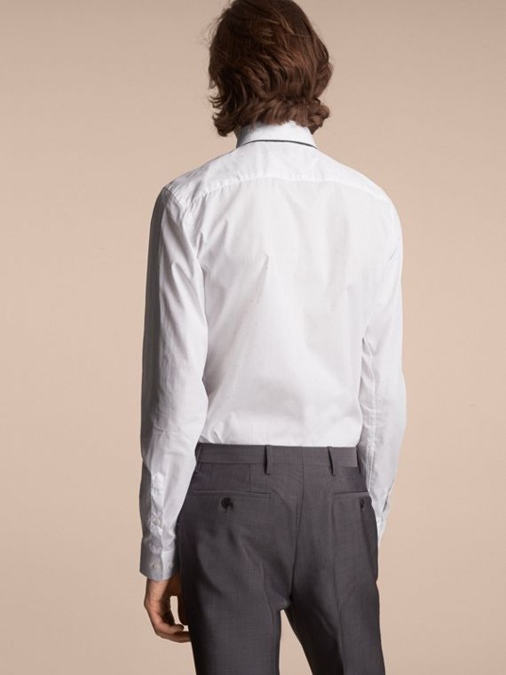 Slim Fit Dot Fil Coupé Cotton Poplin Shirt in White - Men | Burberry - cell image 2