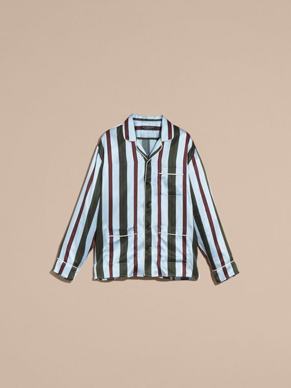 Light blue Pyjama Stripe Silk Cotton Pyjama-style Shirt - cell image 3