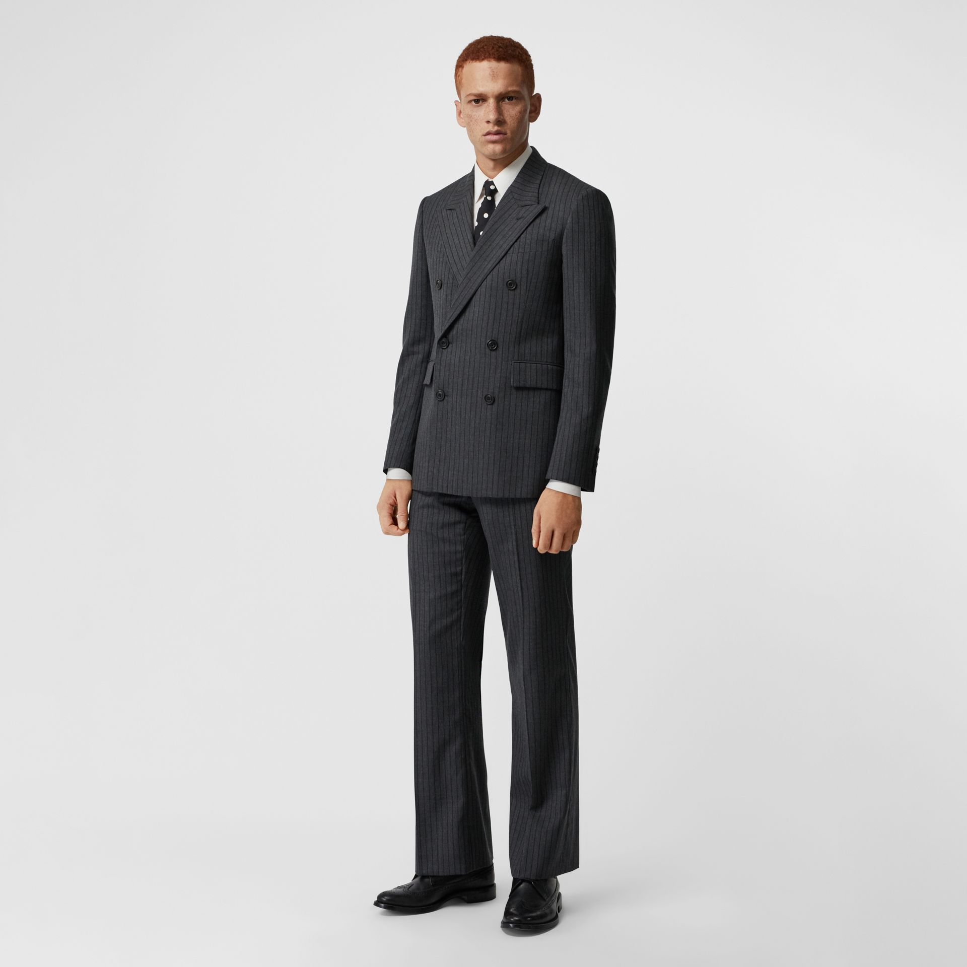 Classic Fit Pinstriped Wool Tailored Jacket in Mid Grey Melange - Men | Burberry - gallery image 0