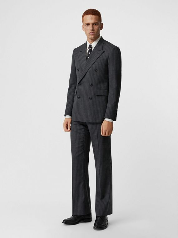 Classic Fit Pinstriped Wool Tailored Jacket in Mid Grey Melange