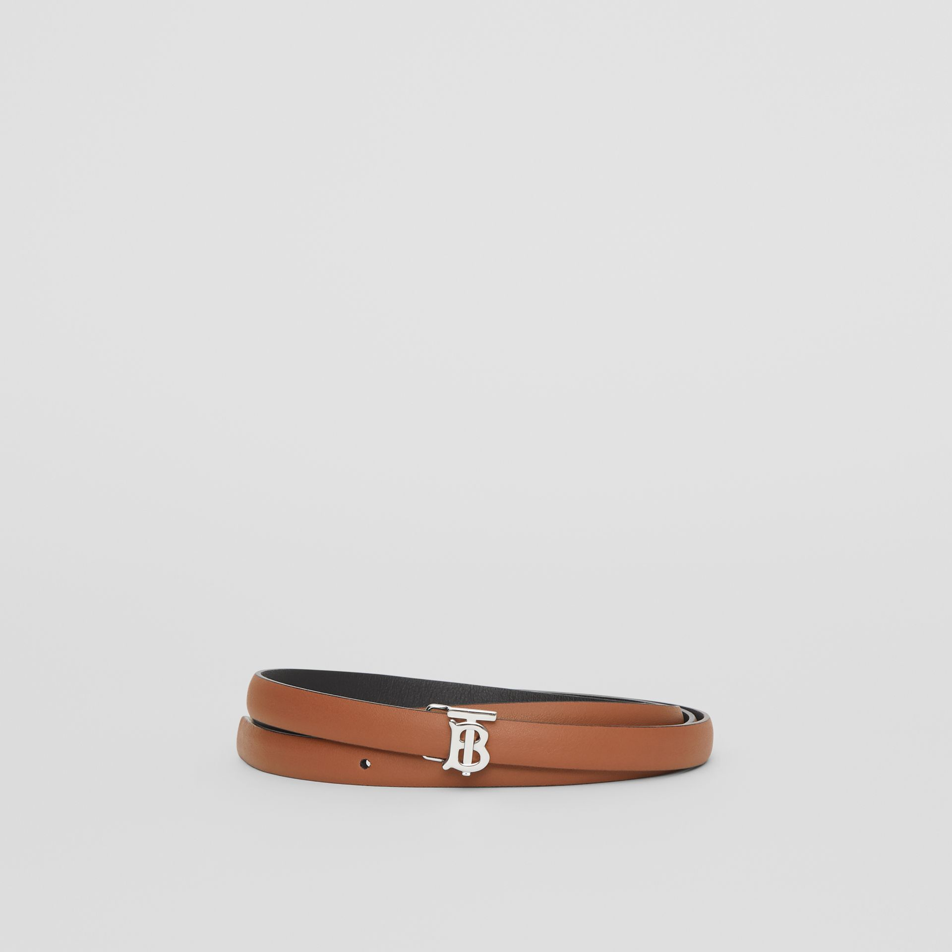 Reversible Monogram Motif Leather Wrap Belt in Malt Brown/black - Women | Burberry Australia - gallery image 0