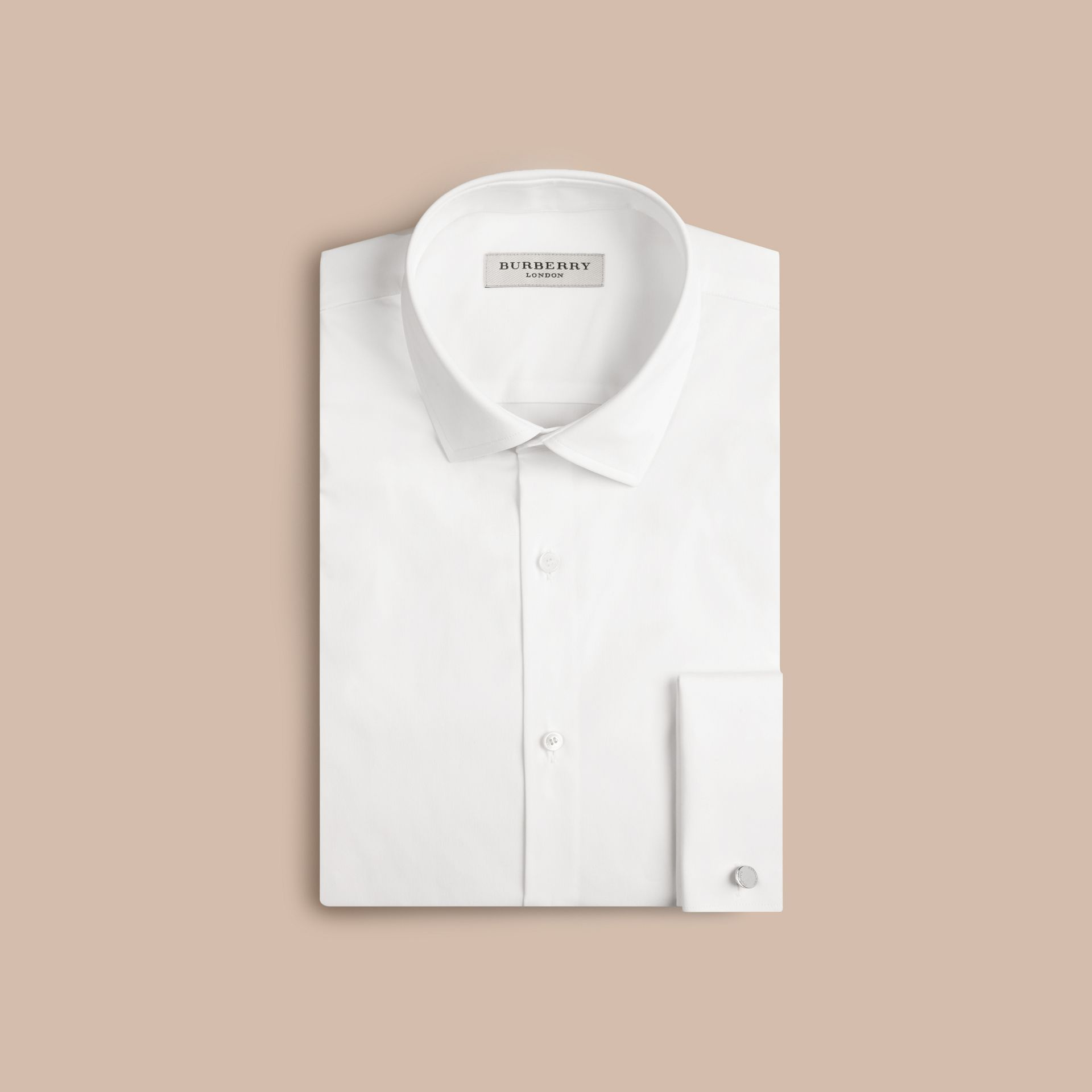White Slim Fit Double-cuff Stretch Cotton Poplin Shirt - gallery image 4