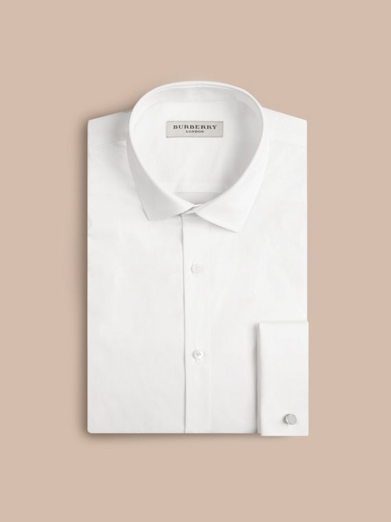 Slim Fit Double-cuff Stretch Cotton Poplin Shirt in White