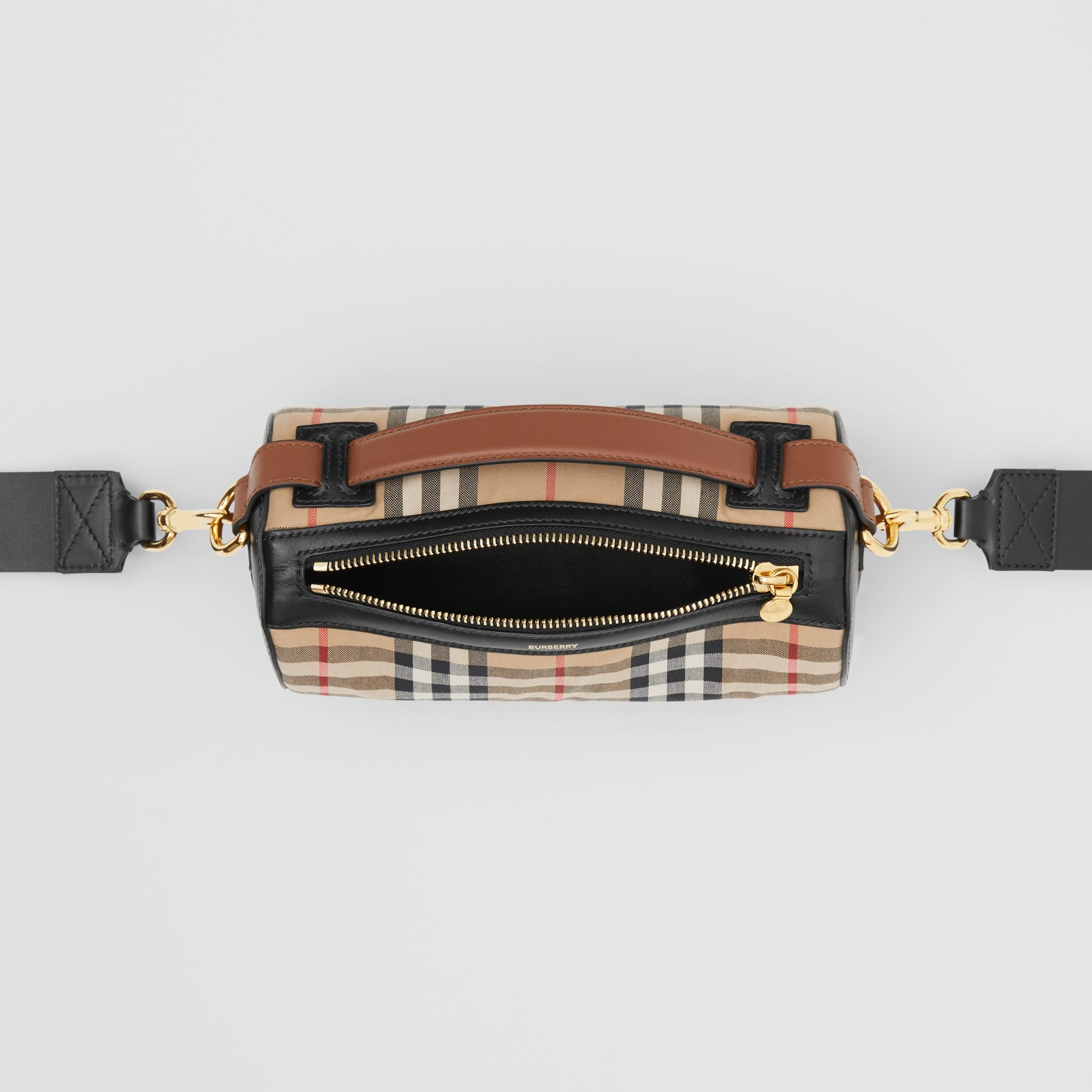 The Vintage Check and Leather Barrel Bag in Archive Beige/black - Women | Burberry Canada - gallery image 4