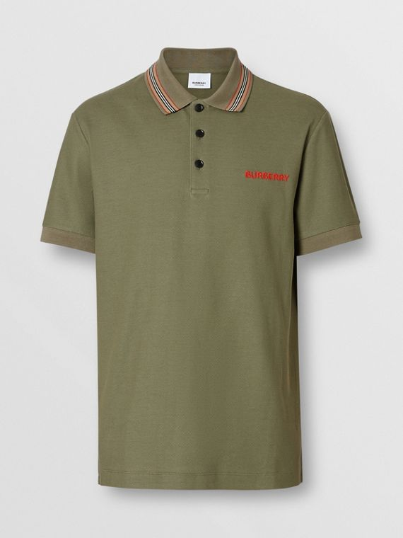6462388e Icon Stripe Detail Cotton Piqué Polo Shirt in Poplar Green